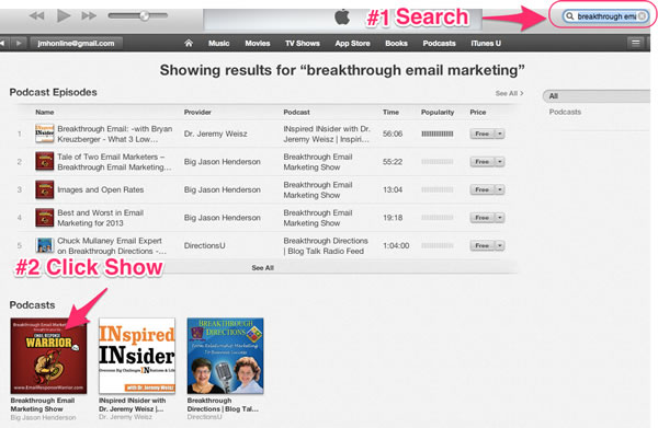 Breakthrough Email Marketing Show in iTunes